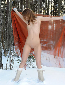 Teen with small tits in the snow